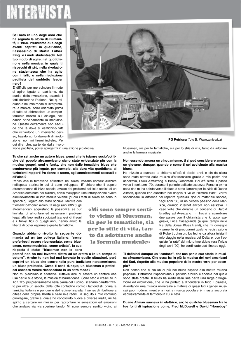Il Blues Intervista a PG Petricca